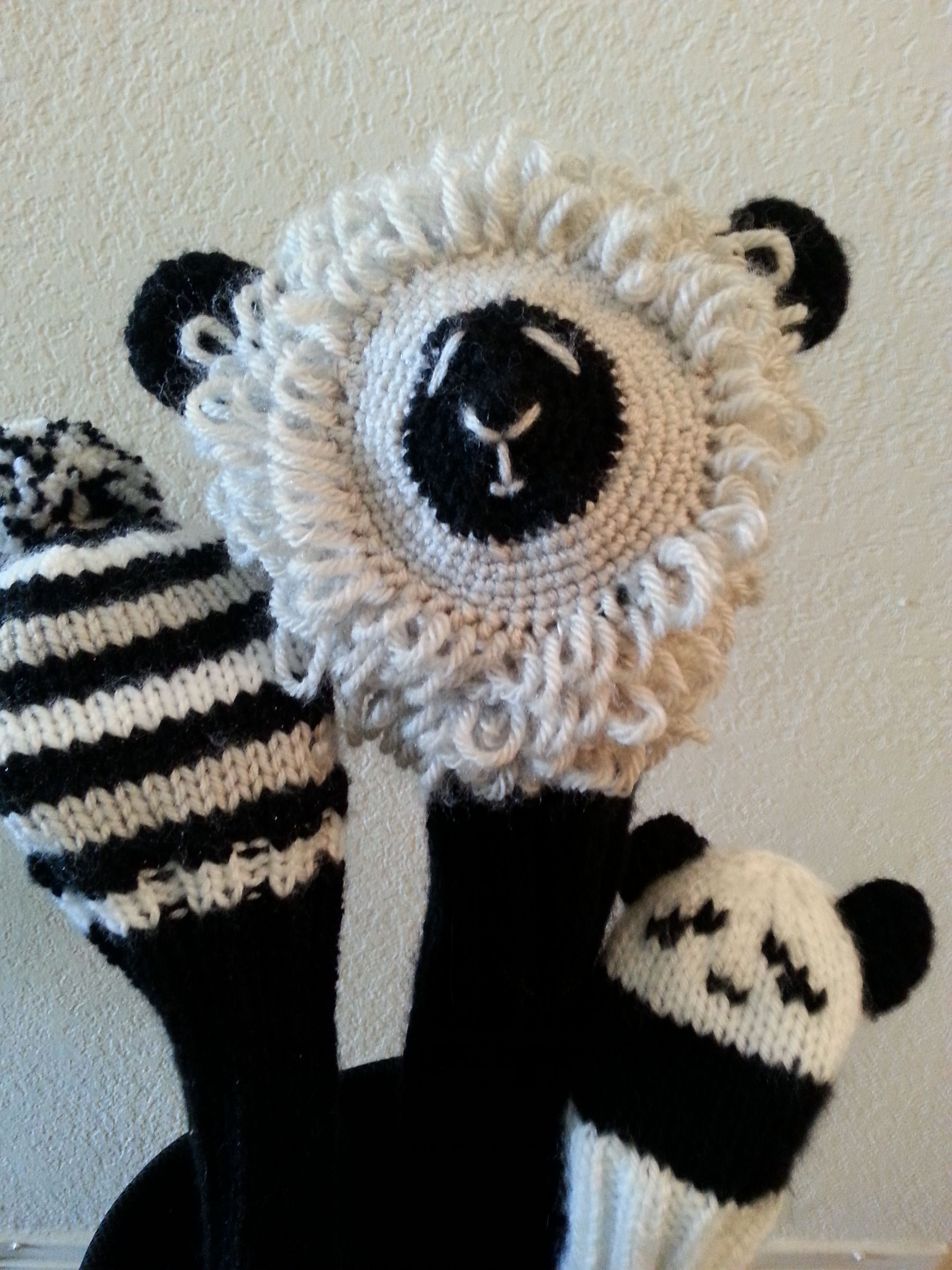Lamb, panda and striped knitted golf club covers | .Knitting ...
