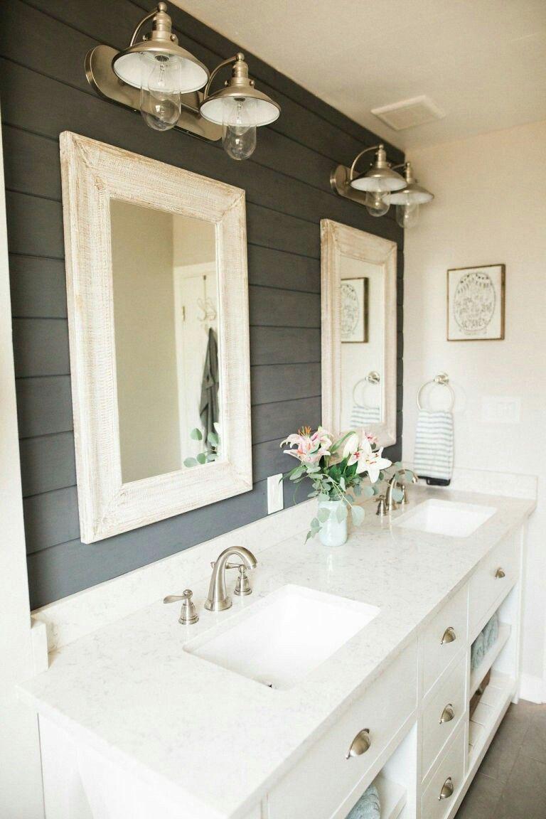 gray shiplap behind bathroom vanity | Man Cave Bath/Shower ...