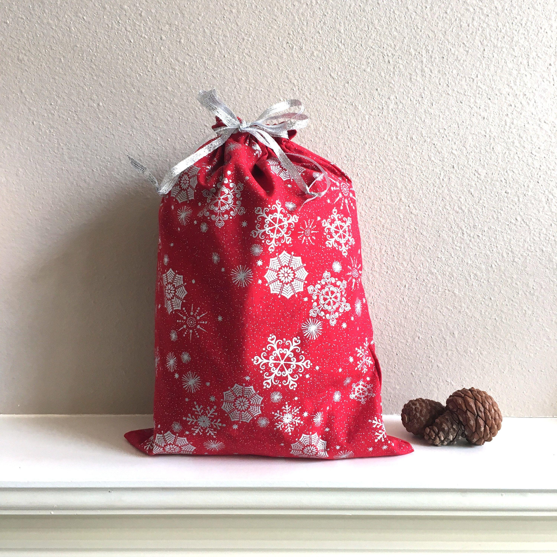 Red Snowflake Christmas Bag Drawstring Gift Zero Waste