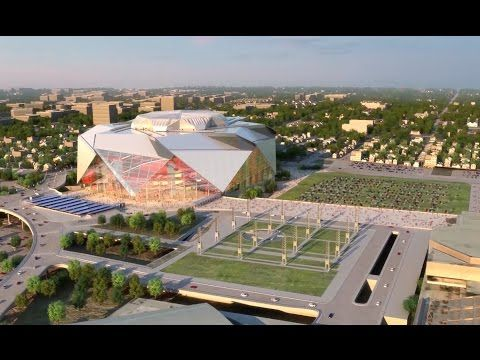 Fly through new atlanta stadium atlanta falcons stadium for Mercedes benz stadium price