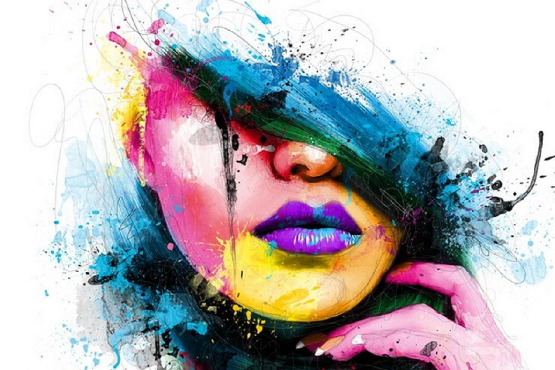Abstract Colored Girl Hd Wallpaper Abstract Art