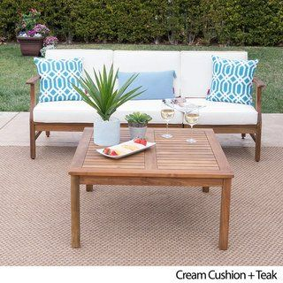 Perla Outdoor Acacia Wood 4 Piece Sofa And Table Set With Cushions