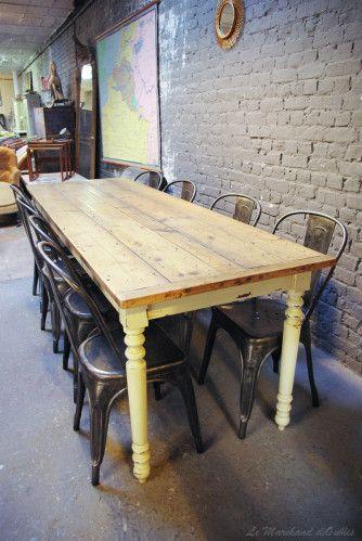 Ancienne table en bois d 39 atelier vendue table bois - Table cuisine bois brut ...