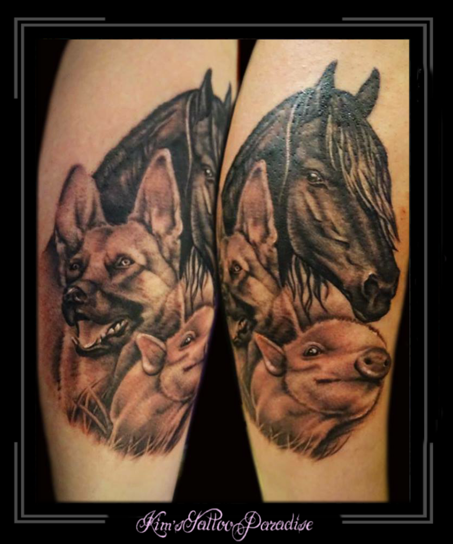 Tattoo Kims Tattoo Paradise Portret Varken Paard Hond