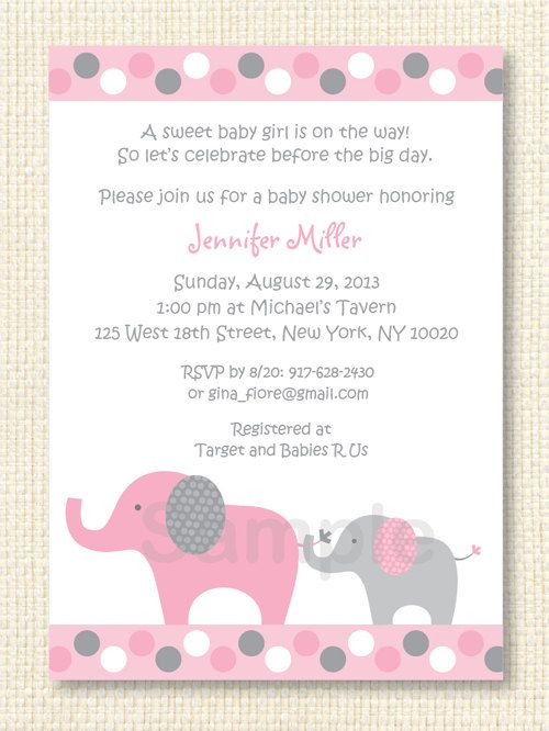 Pink Elephant Baby Shower Invitation Elephant Baby Shower