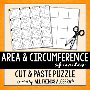 Area And Circumference Of Circles Puzzle Area Of A Circle
