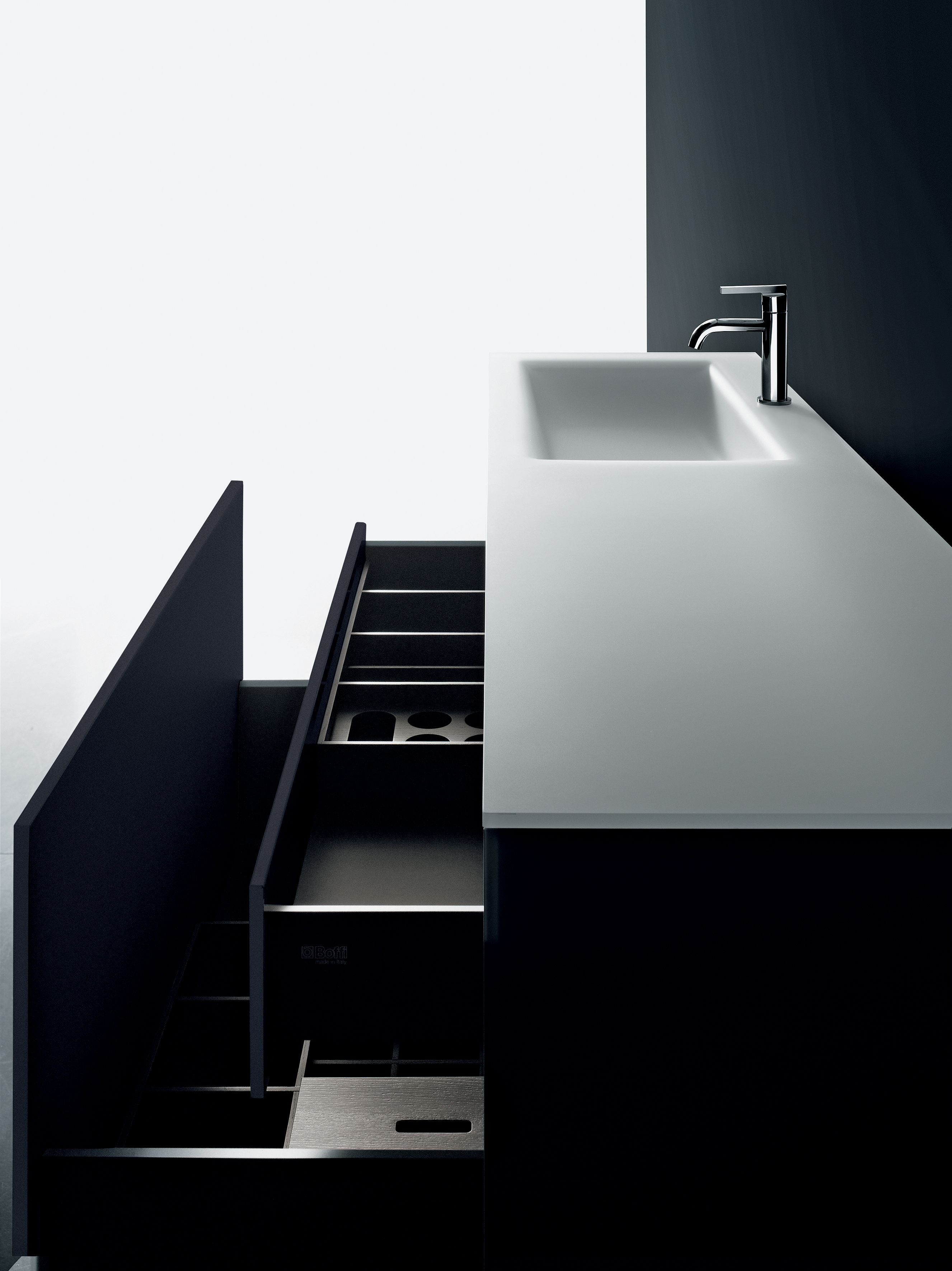 Soho Bath System By Piero Lissoni Drawers Opened Cristalplant Top Photograph Tommaso Sartori