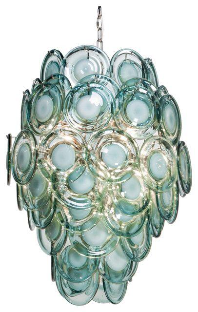 Ventura Coastal Beach Metal Aqua Glass Chandelier Beach Style Sea