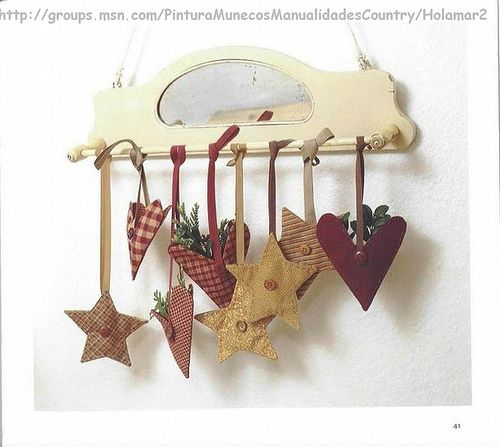 cute project with hanging stars and hearts primitive looking