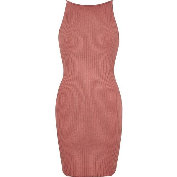 River Island Pink ribbed dress ( 44) ❤ liked on Polyvore featuring dresses 7b35dd31e