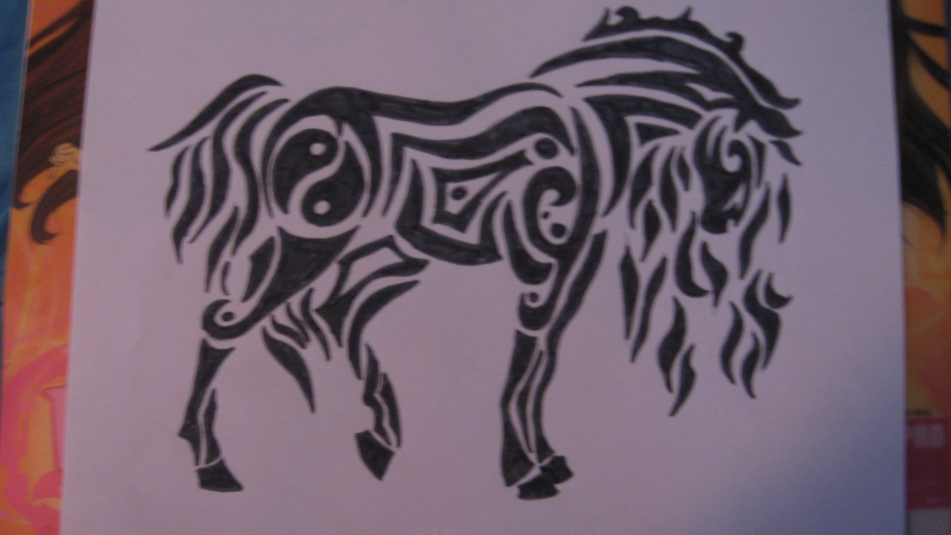 This is a photo of Delicate Tribal Horse Drawing