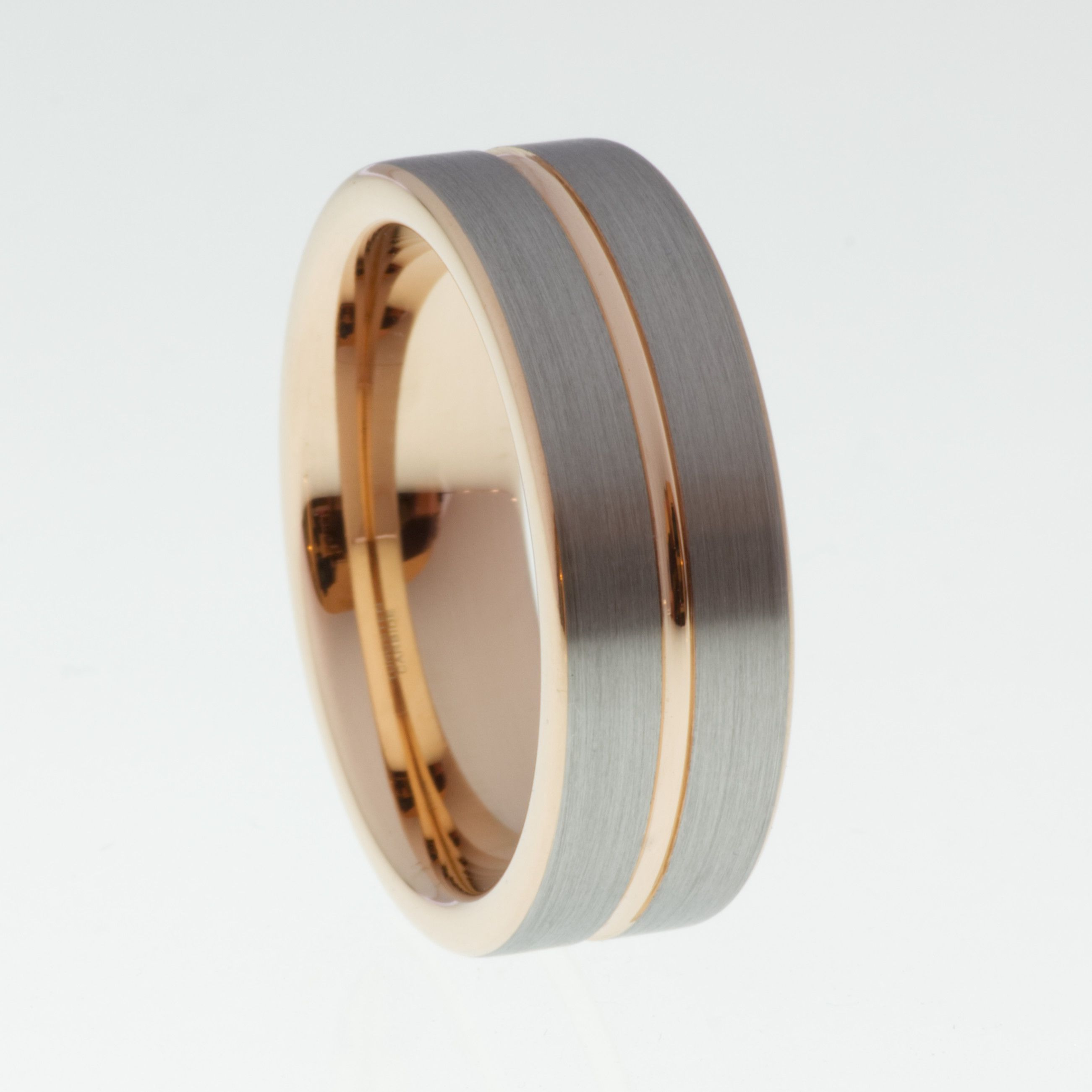 Brushed Tungsten Ring with Rose Gold Accent 8mm Mens