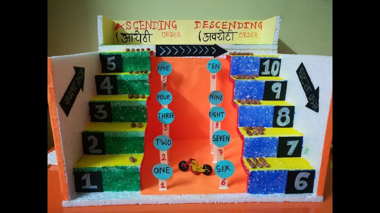 hight resolution of ascending order and descending order Maths TLM for Primary Level   Math  crafts