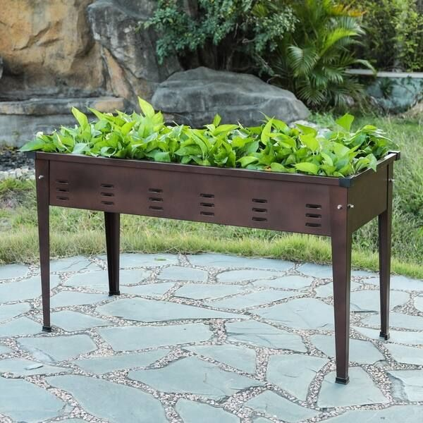 39 5in Metal Rectangular Raised Garden Planter (Raised Bed  Metal  Assembly Required  Brown  Traditional  No  Rectangular), Outdoor Décor is part of Raised garden beds, Wood planters, Raised garden, Raised garden planters, Wood planter box, Raised vegetable gardens -
