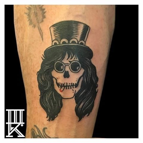 6241465b3e394 WE ARE!! Dope @slash tattoo by Mat Moreno ! #gunsnroses #gnr #gnfr #slash  #blacktattoo #threekingstattoo #threekingsbrooklyn #brooklyn