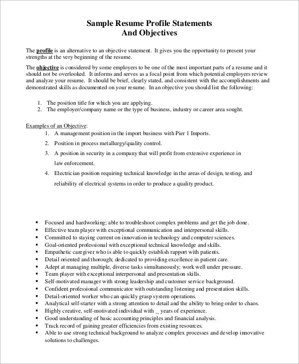 sample resume objective example examples pdf more basic college - sample resume profile statements