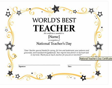 Printable Certificates for Teachers Return to Behavior