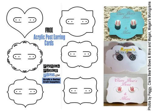 Frre Acrylic Post Earring Cards Designs Earring Cards Earring Cards Template Diy Earring Cards