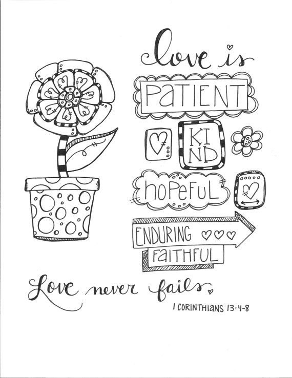 Bible Journaling Coloring Page: Love Never Fails | The Artist In Me ...