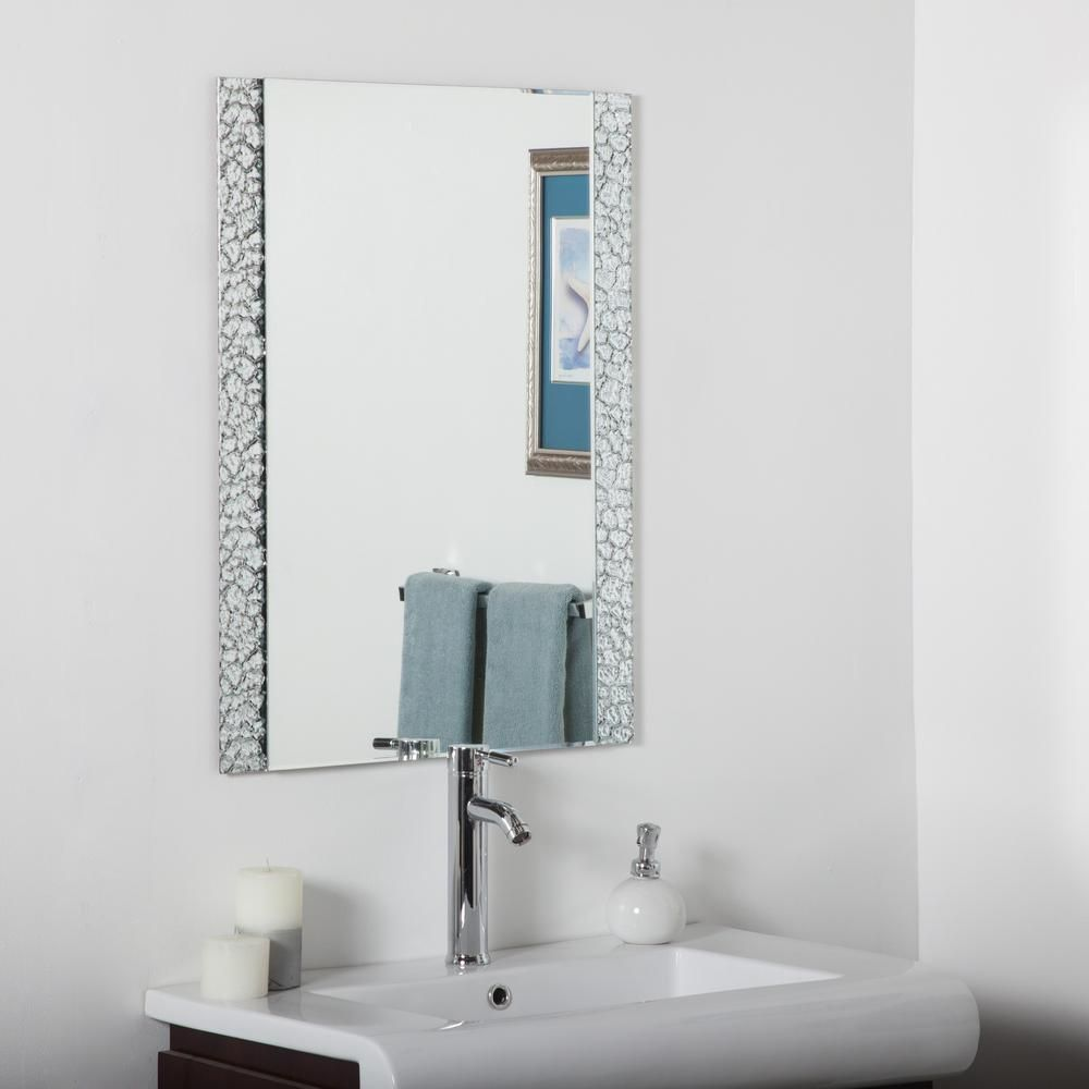 Decor Wonderland 24 In W X 32 In H Frameless Rectangular Beveled Edge Bathroom Vanity Mir In 2021 Rectangular Bathroom Mirror Mirror Wall Bathroom Vanity Wall Mirror