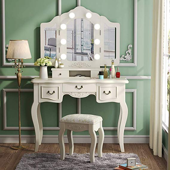 Amazon Com Tribesigns Vanity Set With Tri Folding Lighted Mirror French Vintage Makeup Van Vanity Table Set Vintage Makeup Vanities Dressing Table With Chair