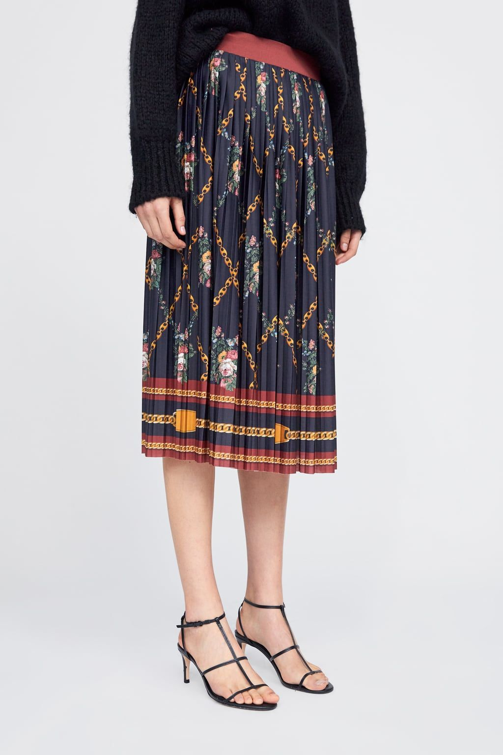 bfc3d92a80 Image 2 of CHAIN PRINT PLEATED SKIRT from Zara | Zara in 2019 ...