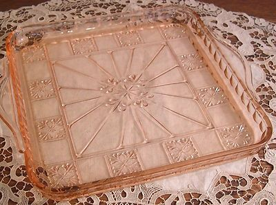 Authentic Pink Depression Glass Square Handled Tray, Doric Pattern 1935-38 NICE…