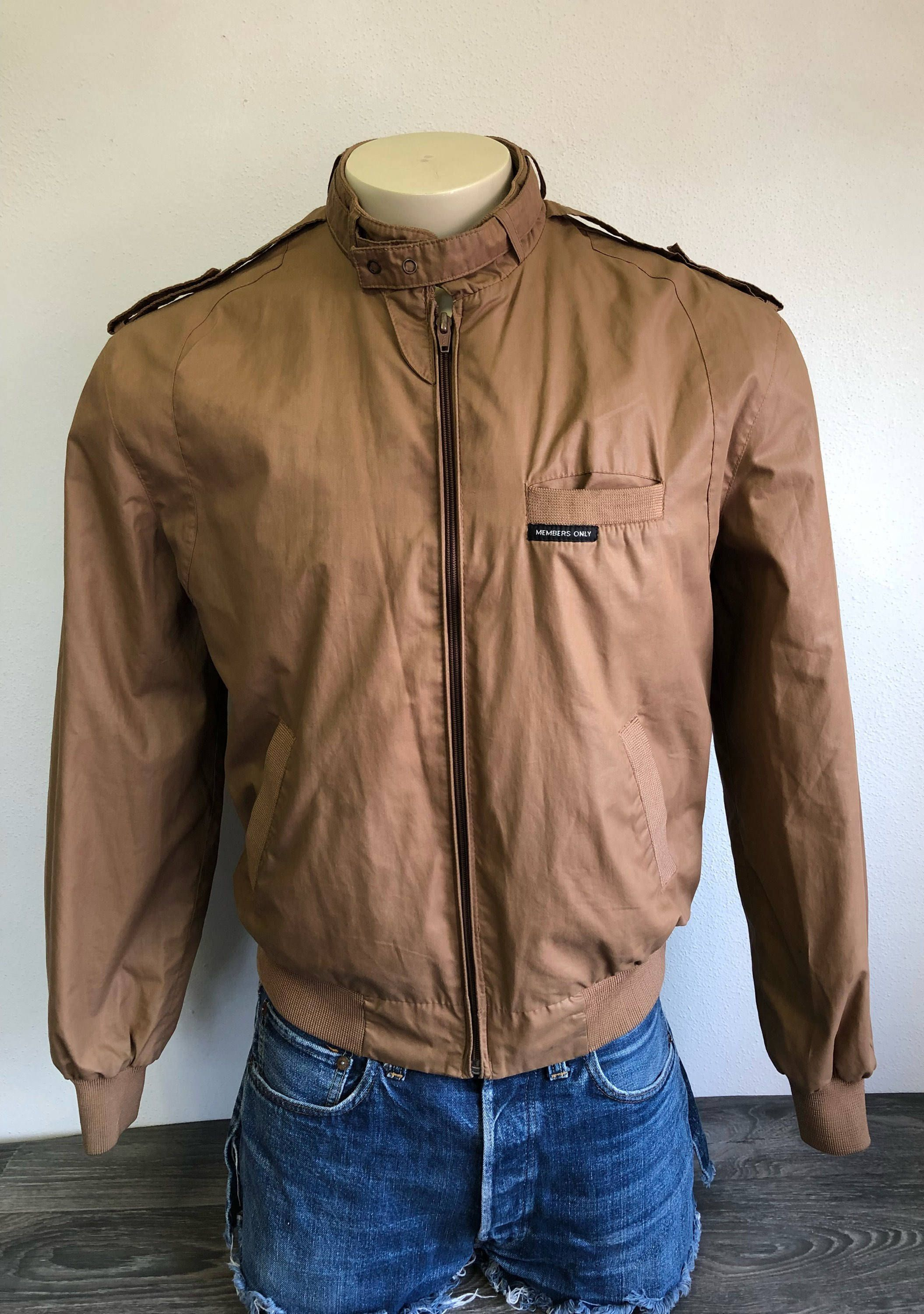 Mens Jacket Vintage Men's Leather Jacket Cafe Racer Brown leather Coat Members Only Style Hipster 80's motorcycle jacket Brown Sz M USA FA4atymAl
