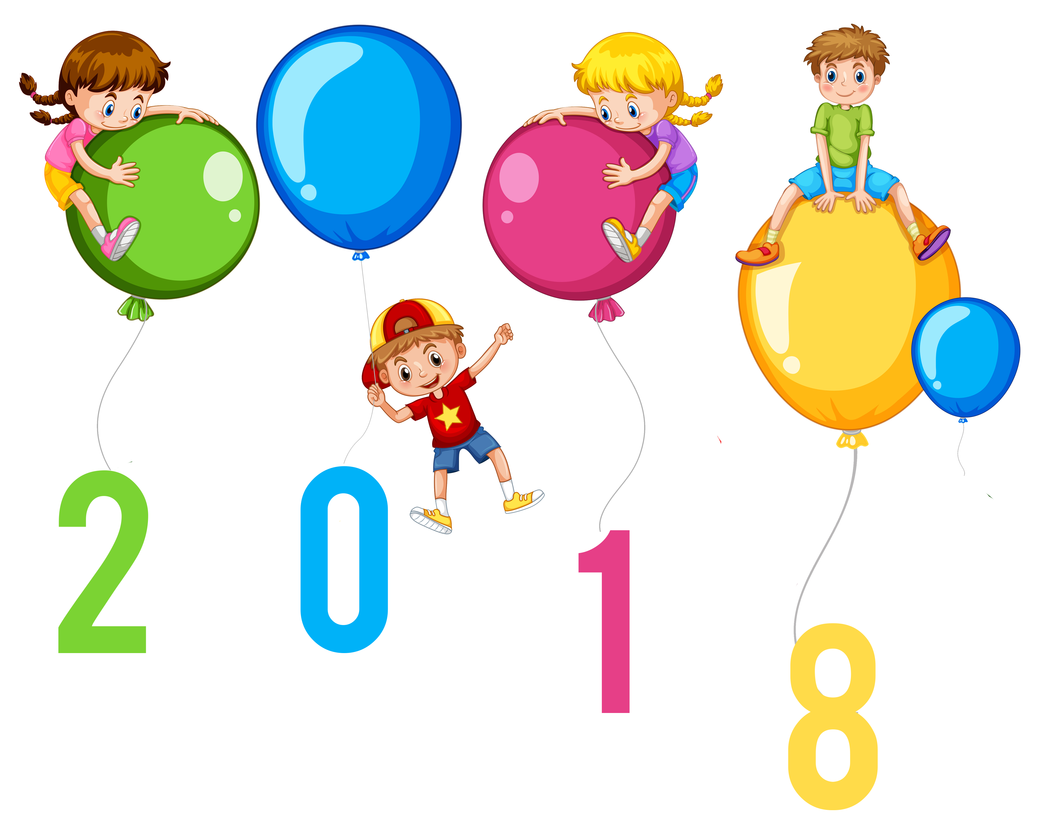 happy new year 2018 kids with balloons clip art image happy new rh pinterest co uk happy new year clipart 2017 happy new year clip art free