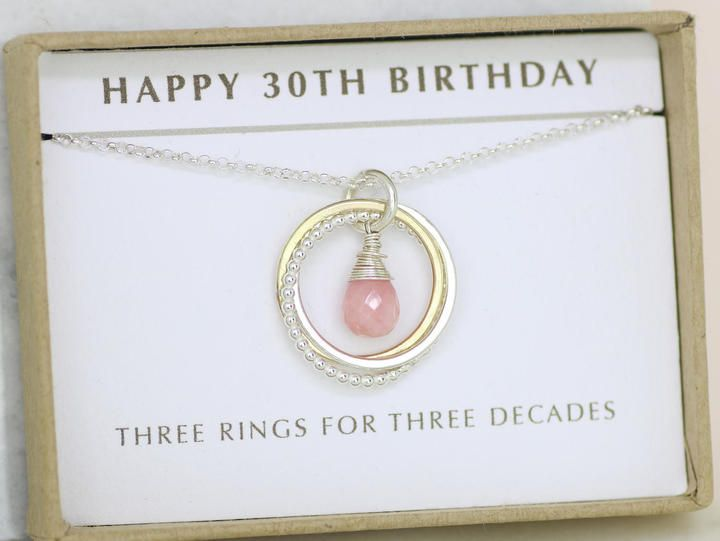Etsy 30th Birthday Gift Pink Opal Jewelry With Meaning October Birthstone Necklace For Sister Gif