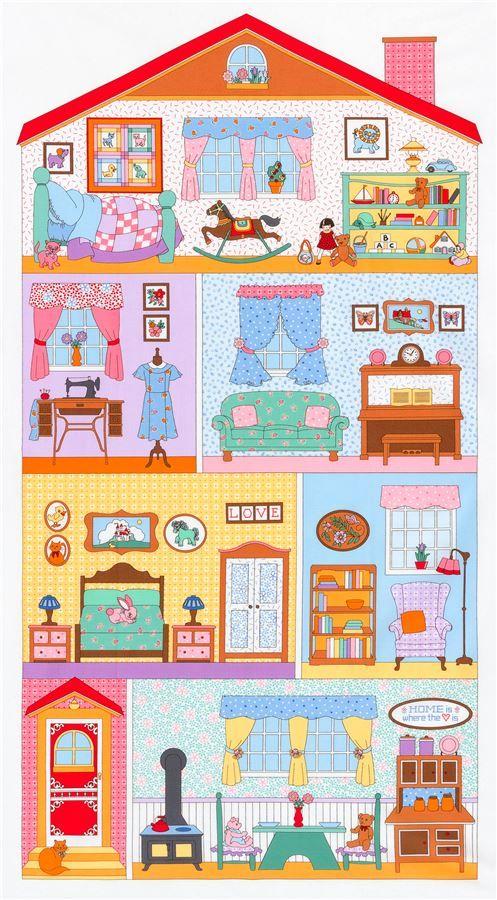 colorful Robert Kaufman doll house panel fabric Casa de