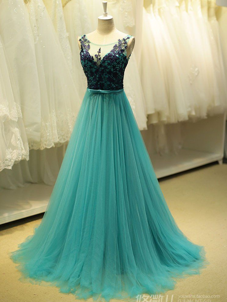 2ad2e2d4d7f Teal Green Fairy Tale Lace Formal Prom Evening Dress in 2019 ...