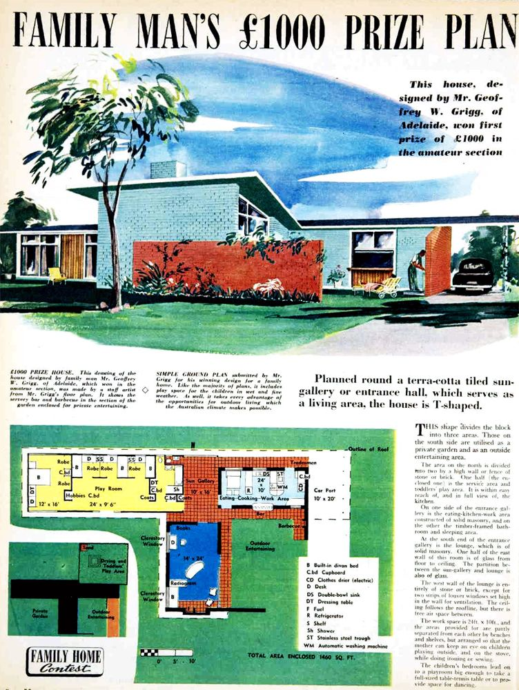 Family man's £1000 prize home plan. A mid-century modern delight! 1954, Australia. the 'family man' was Geoffrey Griggs, who went on to become one of Australia's leading scientists first at the CSIRO, then with his own successful biotechnology company.