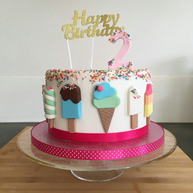 Birthdaycake Icecream girl 2year old Happy Birthday by