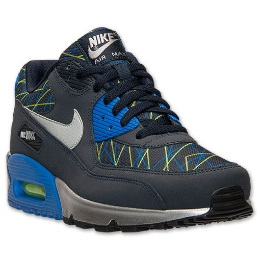 Nike Air Max 90 Grey Blue Fashion Mens Running Trainers Shoes