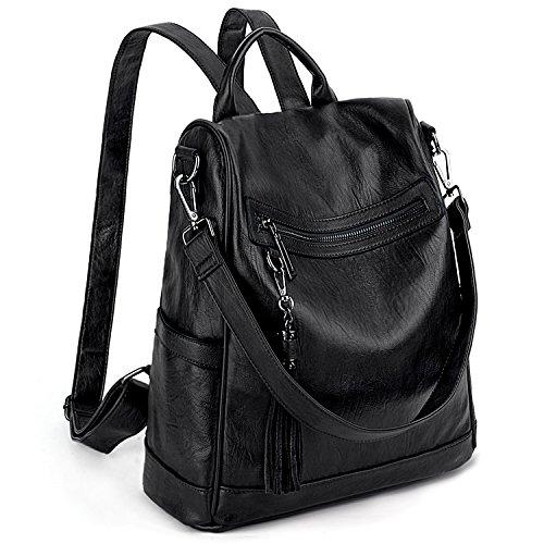 7ec9d299ac7f Women Anti-Theft Backpack Purse PU Washed Leather Ladies Tassels  Convertible Rucksack Shoulder Bag