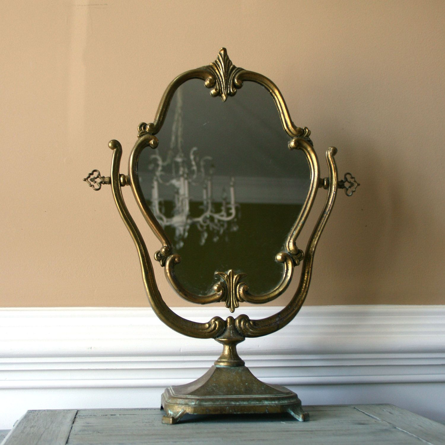 Antique Vanity Mirror with Stand. Makeup Ornate Mirror