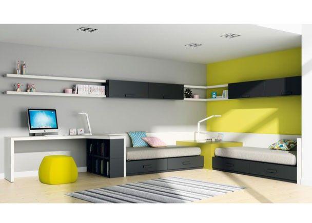 Dormitorio Juvenil funcional con camas   CREACIONES HERMOSAS ...