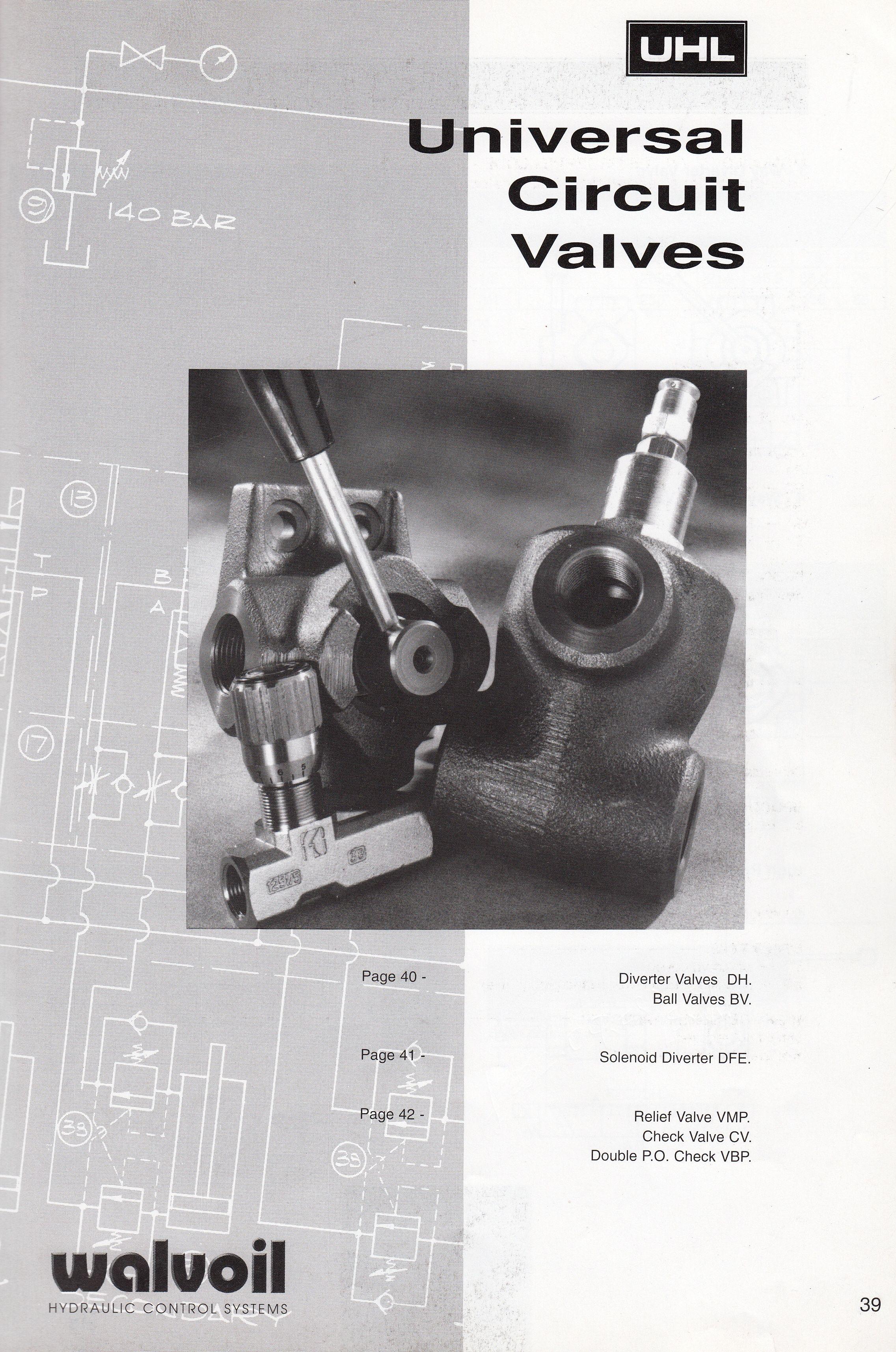 Hydraulic Circuit Valves Manual Diverter Valves Ball Valves Solenoid Diverter Dfe Valves Relief Valves Vmp Check Valves Relief Valve Valve Control Valves