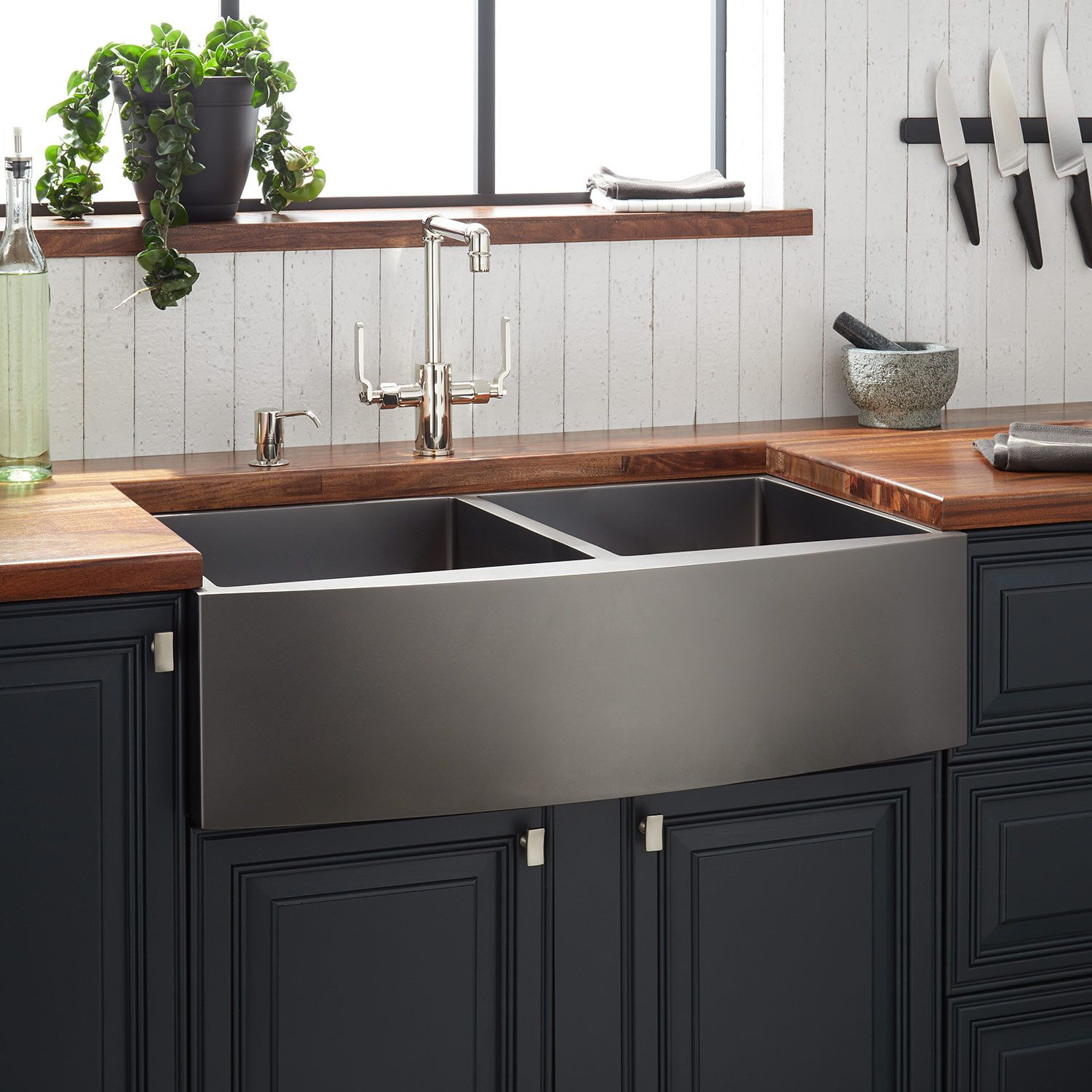 33 Atlas Double Bowl Stainless Steel Farmhouse Sink Curved