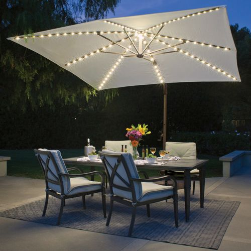 Bali Pro 10 Square Rotating Cantilever Umbrella With Lights Offset Patio Umbrella Patio Umbrella Patio Design