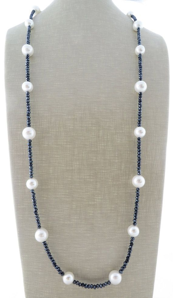 Long pearl necklace, grey crystal necklace, double raw necklace, uk beaded necklace, white pearl jewelry, wedding jewelry, gift for her #pearljewelry