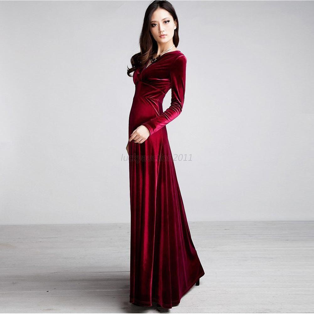 Fashion womenus velvet v neck long maxi dress sexy clubwear evening