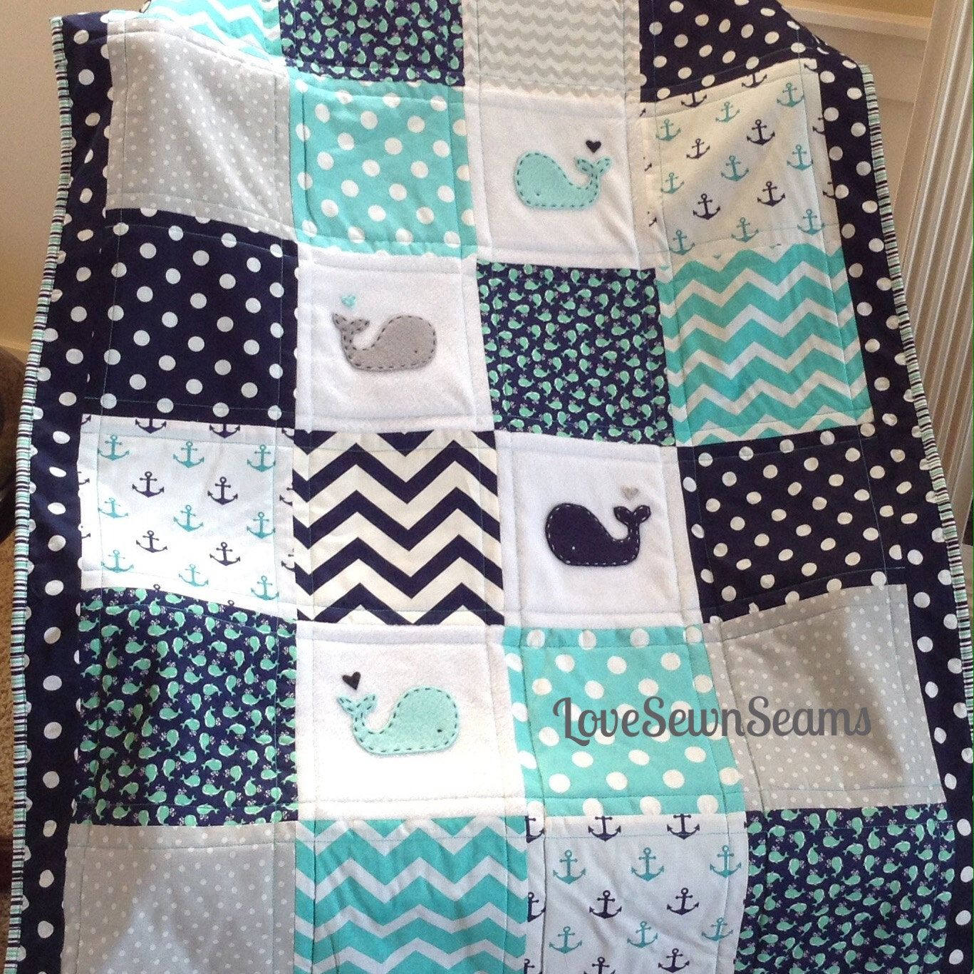 TEAL/NAVY NAUTICAL/Crib Size Nautical Quilt 38