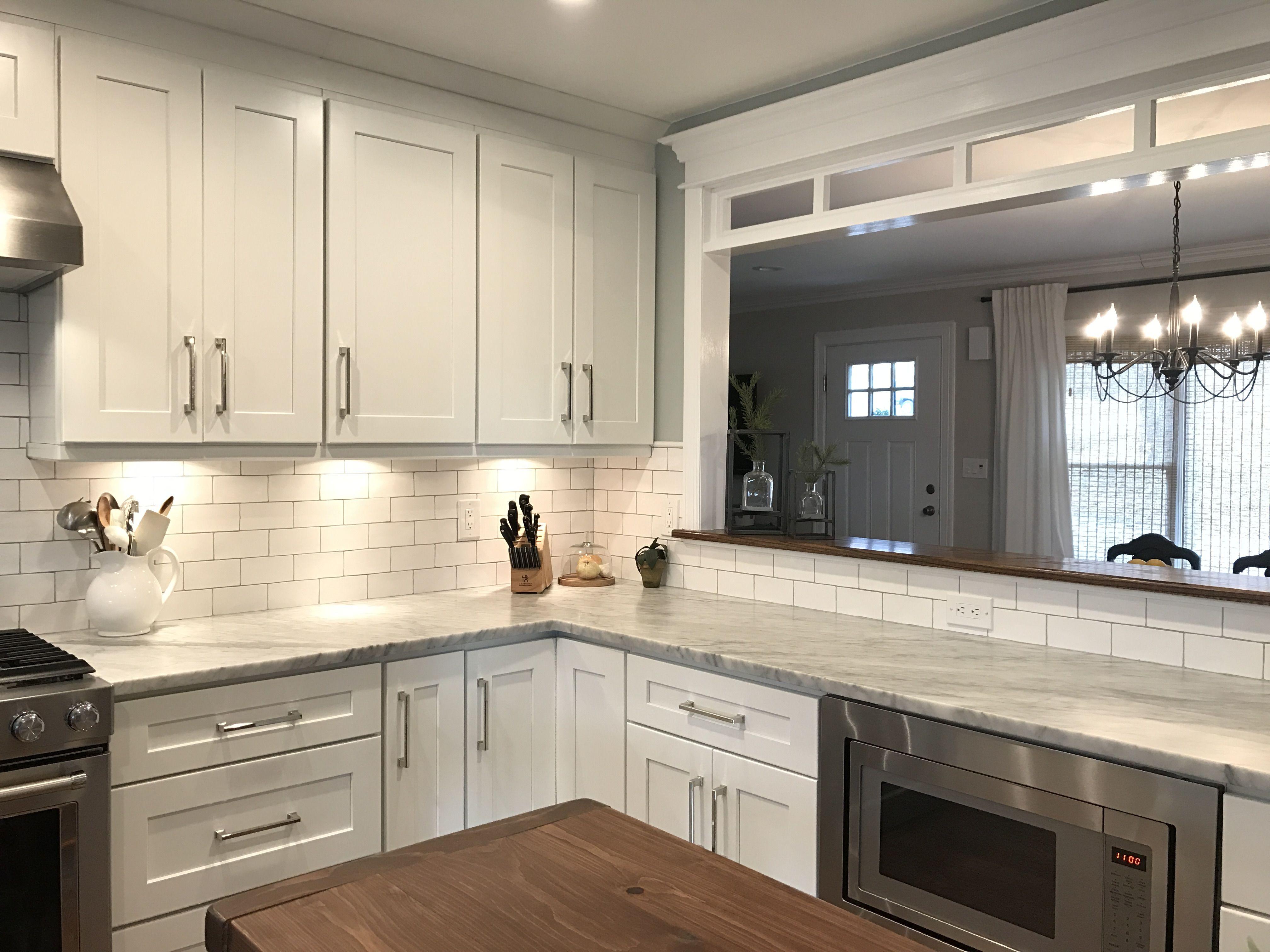 Faux Transom In Kitchen Pass Through Kitchen Remodel Small Kitchen Remodel Kitchen Redo