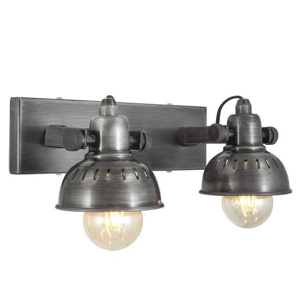 Swivel Spotlight Wall Light - Double - Pewter