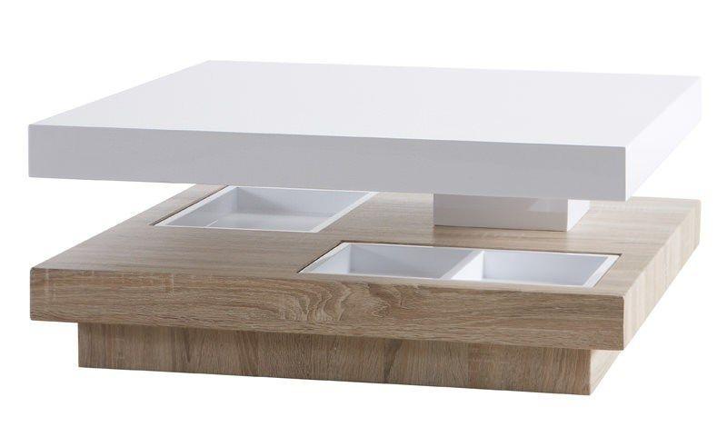 Modish Turn+Sofabord+-+Moderne+sofabord+i+hvid+højglans+og+flot+træ-look+ HV-57