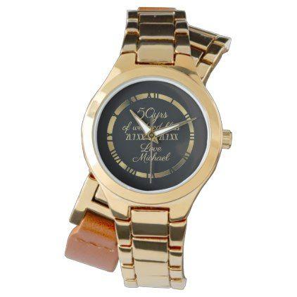 50th Wedding Anniversary Wife Golden Roman Numeral Watch