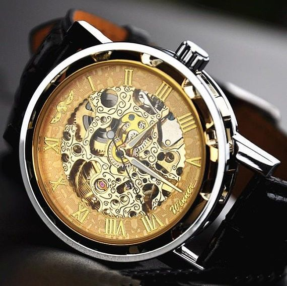 Stan vintage watches — Handmade retro leather chain hollow out mechanical watch (WAT0041)