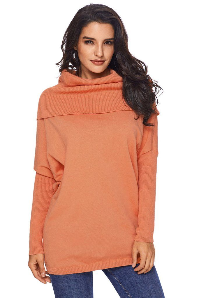 Orange Cowl Neck Long Sleeve Sweater Womens Sweaters Pinterest